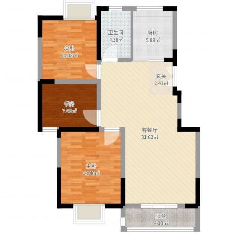 名城运河锦园3室2厅1卫1厨96.00㎡户型图