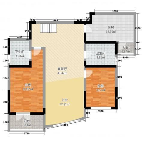 凯创城市之巅2室2厅2卫1厨104.39㎡户型图