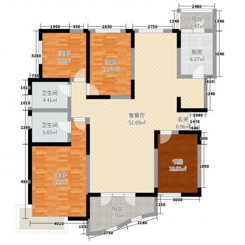 凯创城市之巅4室2厅2卫1厨129.06㎡户型图
