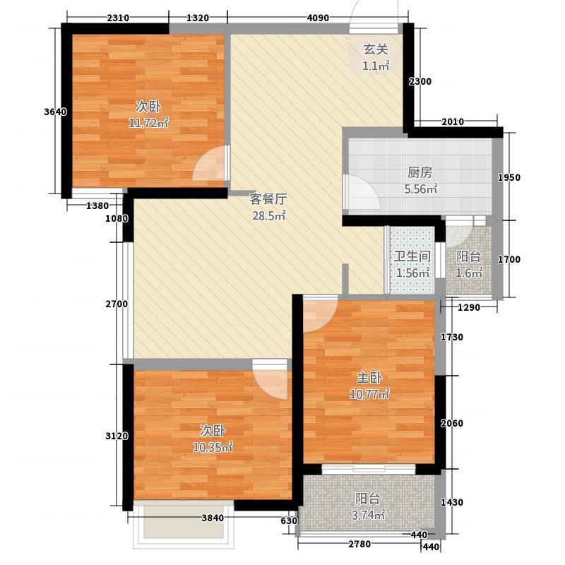 泰岩锦江城2315.52㎡B2户型3室2厅1卫1厨