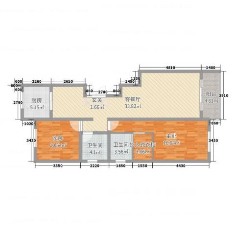 上东阳光2室2厅2卫1厨118.00㎡户型图
