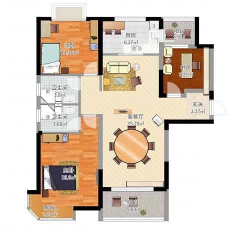 碧桂园凤凰城3室2厅2卫1厨135.00㎡户型图