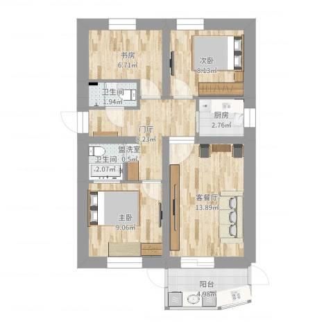 德胜里一区3室2厅2卫1厨72.00㎡户型图