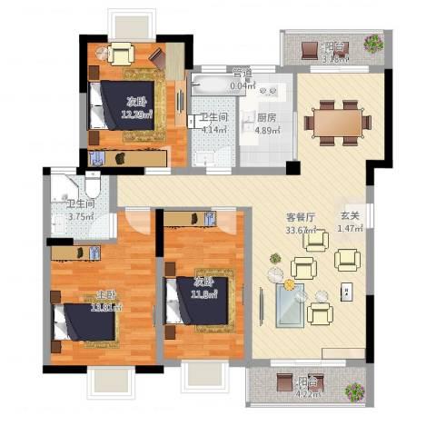 万科松山湖1号3室2厅2卫1厨115.00㎡户型图