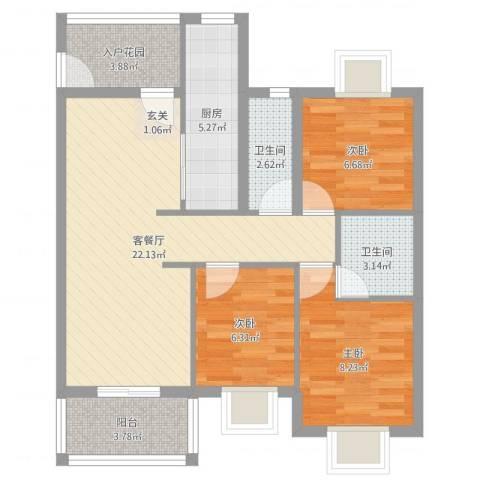 盛和花园3室2厅2卫1厨78.00㎡户型图