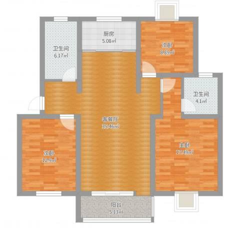 玉莲新村3室2厅2卫1厨119.00㎡户型图