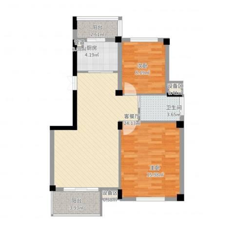 浪琴海2室2厅1卫1厨91.00㎡户型图