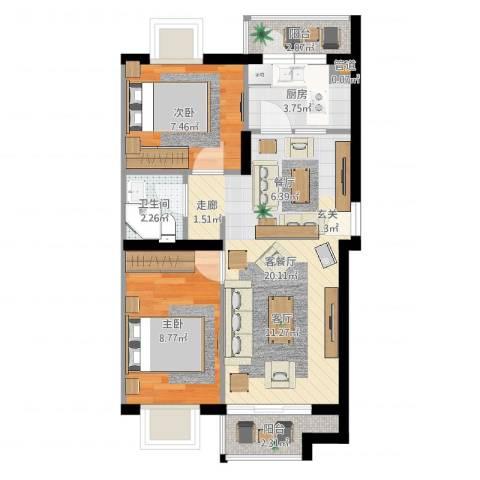 乔庄北街2室2厅1卫1厨59.00㎡户型图