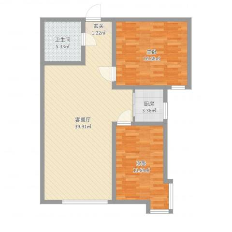 海旺家园二期2室2厅1卫1厨111.00㎡户型图