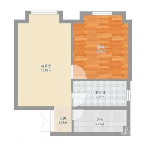 当代名筑1室2厅2卫1厨71.00㎡户型图