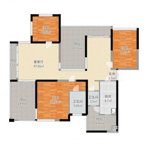 观山湖1号3室2厅2卫1厨197.00㎡户型图