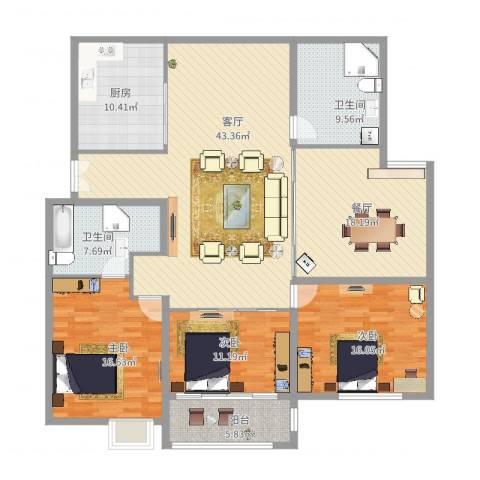 育秀九区3室2厅2卫1厨193.00㎡户型图