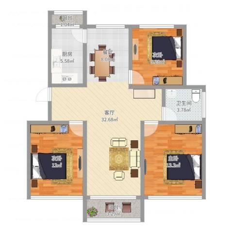 金沙雅苑地中海之恋3室1厅1卫1厨101.00㎡户型图