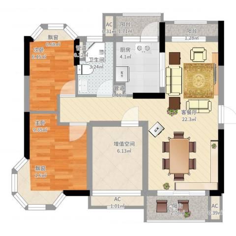 保利城二期2室2厅1卫1厨88.00㎡户型图