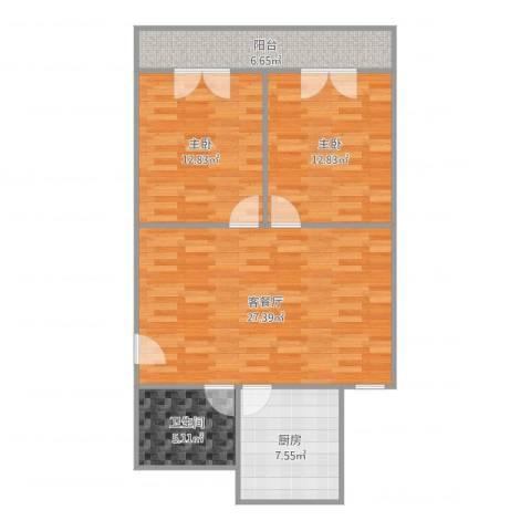 心族公寓2室2厅1卫1厨90.00㎡户型图