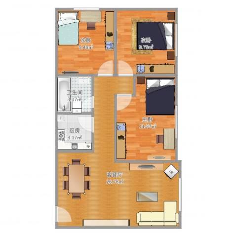 芒果公寓3室2厅1卫1厨80.00㎡户型图
