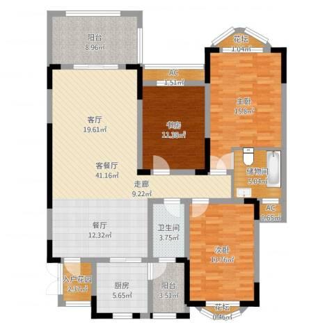 蓝光十里蓝山别墅3室2厅1卫1厨144.00㎡户型图