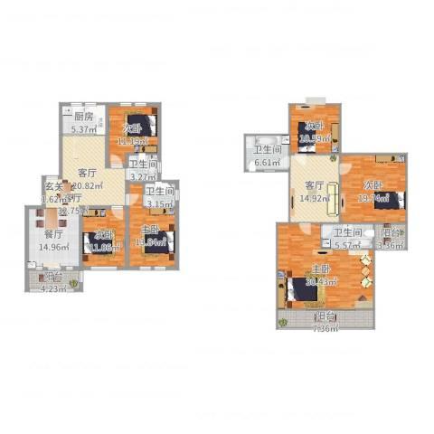 公园天下6室2厅4卫1厨229.00㎡户型图