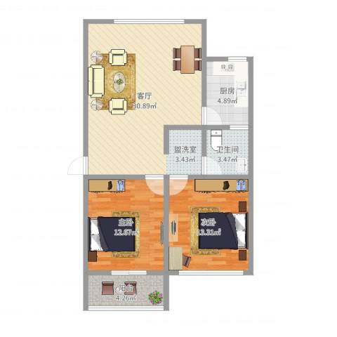花山锦地苑2室1厅1卫1厨87.00㎡户型图