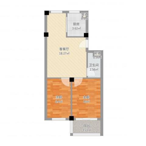 春山华居2室2厅1卫1厨46.32㎡户型图