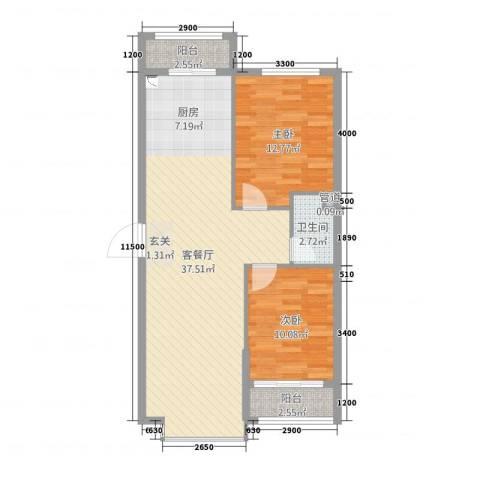 溪林湾・东方新天地2室2厅1卫0厨96.00㎡户型图