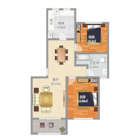 上南雅筑2室1厅1卫1厨91.00㎡户型图