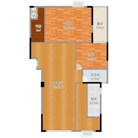 运河名都3室2厅1卫1厨156.00㎡户型图