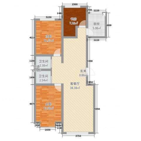 当代晶典3室2厅2卫1厨114.00㎡户型图