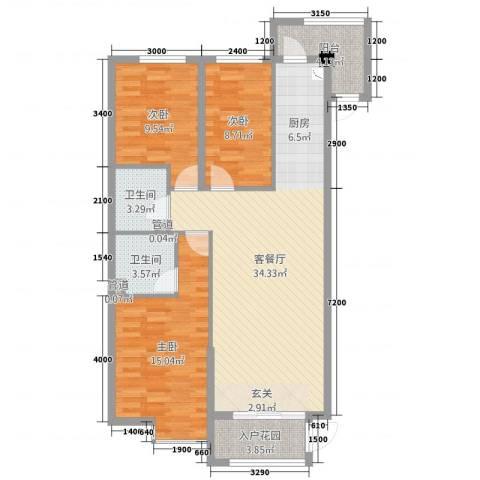 溪林湾・东方新天地3室2厅2卫0厨116.00㎡户型图