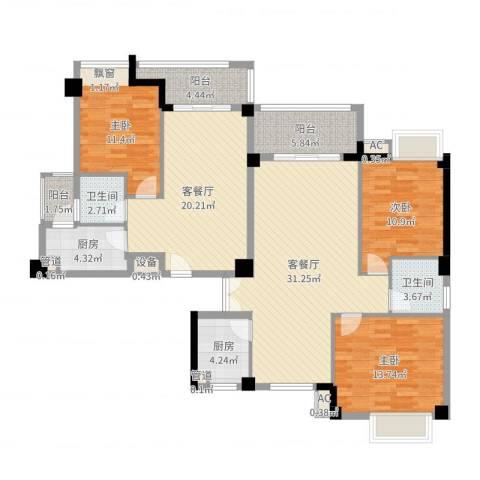 圣地亚哥3室4厅2卫2厨145.00㎡户型图