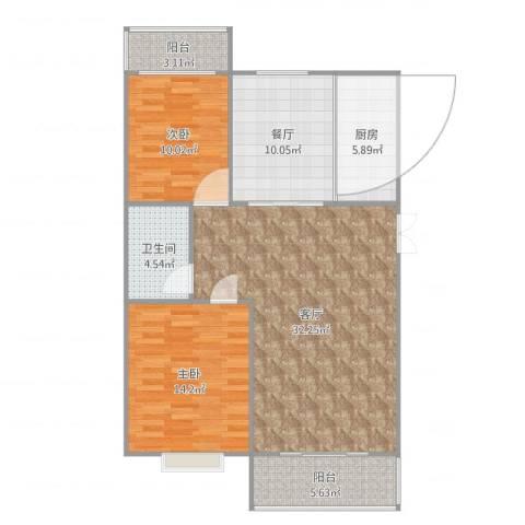 大川世纪城2室2厅1卫1厨107.00㎡户型图