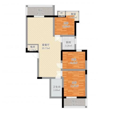 苏格兰风笛3室2厅1卫1厨94.00㎡户型图