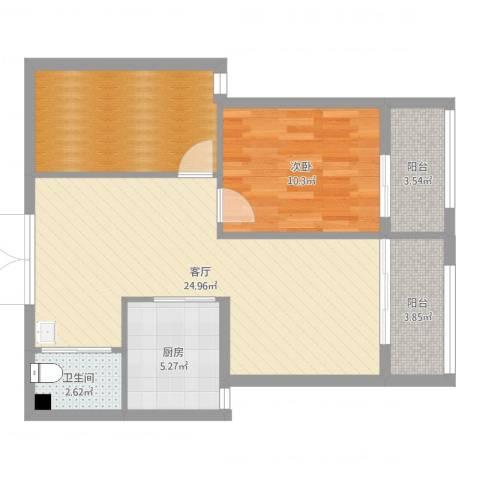 汉水尚庭1室1厅1卫1厨75.00㎡户型图
