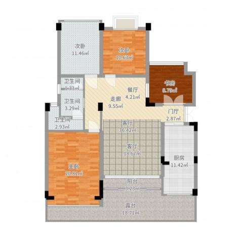海宇学府江山4室1厅3卫1厨161.00㎡户型图