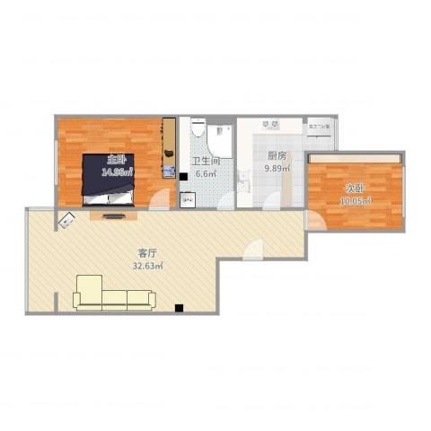 赛德广场2室1厅1卫1厨93.00㎡户型图