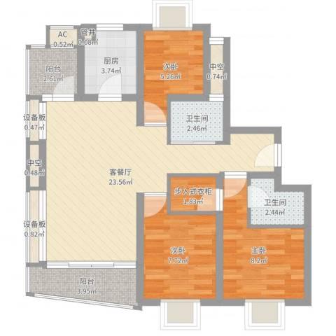 万豪花园3室2厅2卫1厨81.00㎡户型图