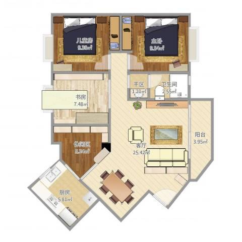 东晖花园3室1厅1卫1厨96.00㎡户型图