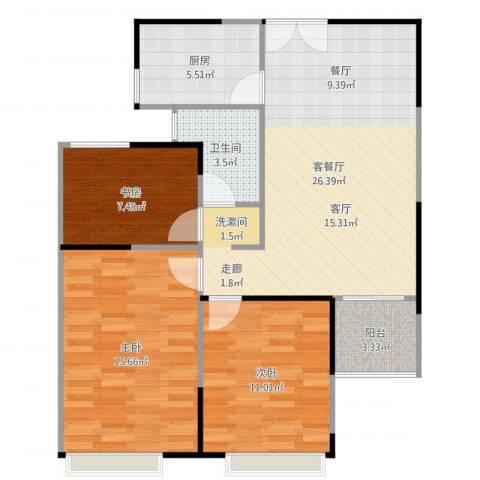 绿地新都会3室2厅1卫1厨91.00㎡户型图