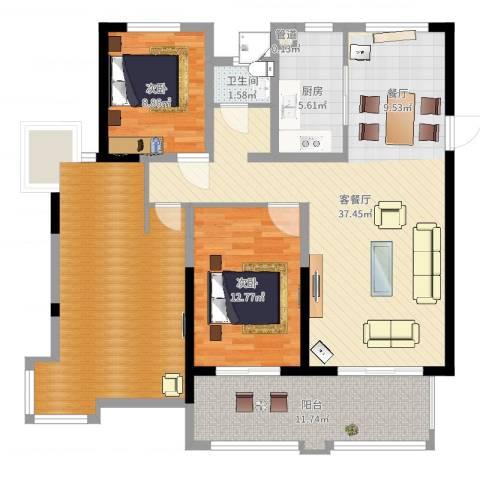 悦达悦珑湾2室2厅2卫1厨126.00㎡户型图