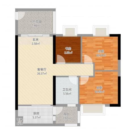 翡翠绿洲湖滨苑3室2厅1卫1厨94.00㎡户型图
