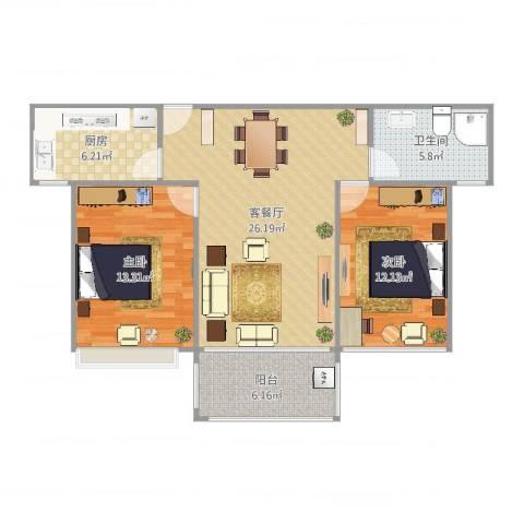 首开太湖一号2室2厅1卫1厨87.00㎡户型图