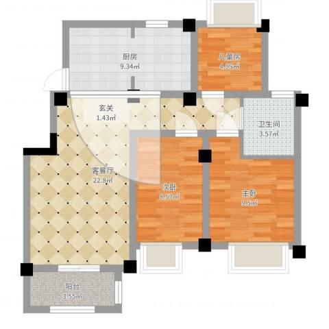 澳海胥江湾3室2厅1卫1厨78.00㎡户型图