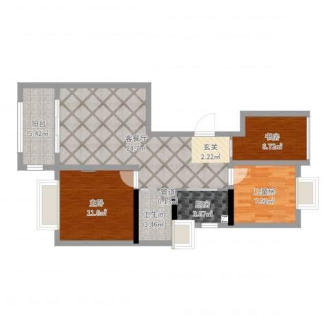 水榭花城3室2厅2卫1厨80.00㎡户型图