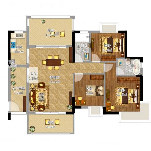 东江明珠花园3室2厅2卫1厨129.00㎡户型图