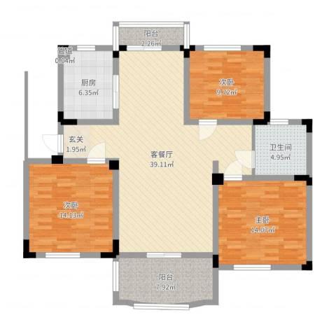 奇瑞龙湖湾3室2厅1卫1厨123.00㎡户型图