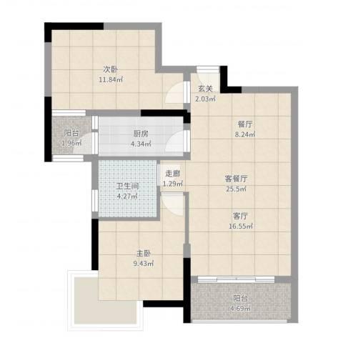 宇丰名苑2室2厅1卫1厨78.00㎡户型图