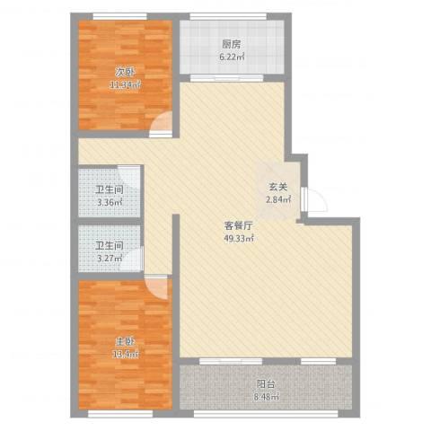 时代中通首府2室2厅2卫1厨119.00㎡户型图