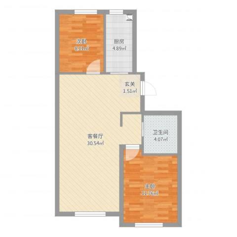 万晟幸福里2室2厅1卫1厨74.00㎡户型图