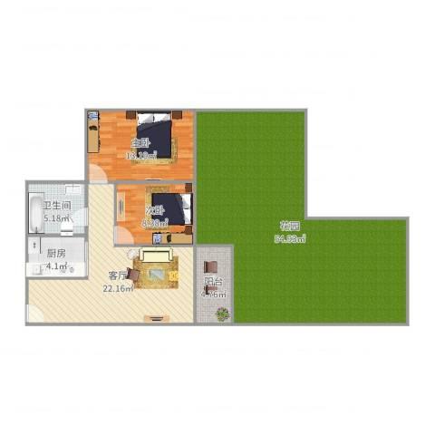 盈彩美地2Q花园房2室1厅1卫1厨141.00㎡户型图