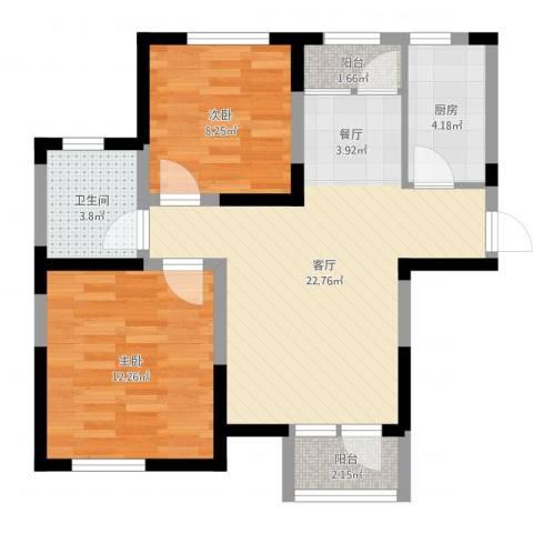 滨海欣嘉园2室1厅1卫1厨69.00㎡户型图
